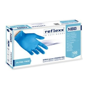 GUANTO NITRILE REFLEXX N80 - BLU 100 PZ. MIS. S