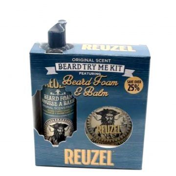 REUZEL BEARD TRY ME KIT WOOD & SPICE BEARD FOAM & BALM