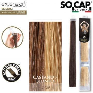 25 EXTENSION HUMAN HAIR LISCI 50/55 CM COL. 8/26