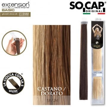 25 EXTENSION HUMAN HAIR LISCI 50/55 CM COL. 18/24